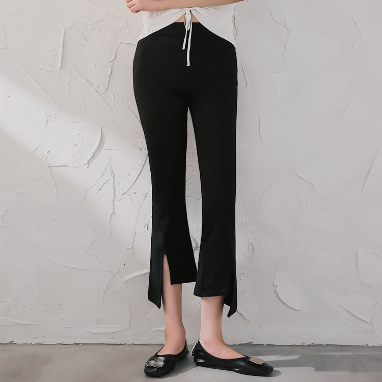 Micro Bell-bottom   Pants   Women's   Capri   Slit Casual   Pants   Korean-style High-waisted Elasticity Fashion Elegant Casual   Capri     Pants