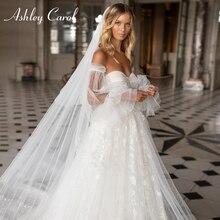 Ashley Carol prenses düğün elbisesi 2020 ayrılabilir puf kollu seksi sevgiliye Lace Up aplikler gelin törenlerinde Vestido De Noiva