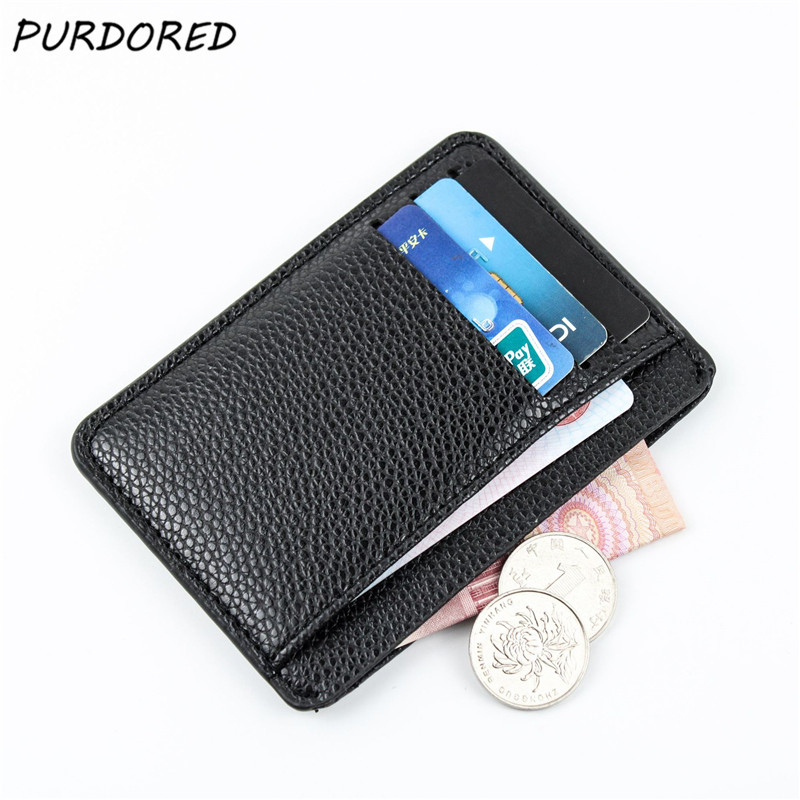 PURDORED 1 Pc Black Men Card Holder PU Leather ID Card Holder Thin Light Bank Credit Card Wallet Multi Slot Slim Card Case Bag