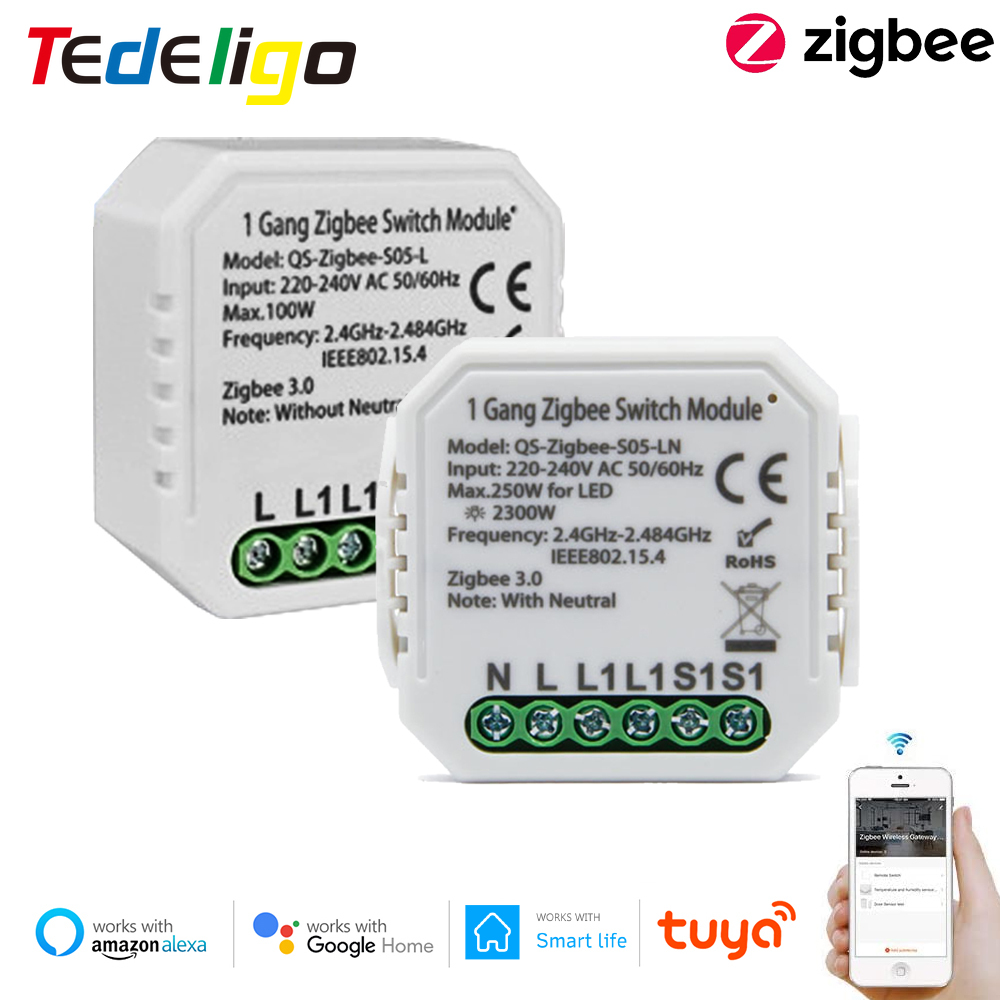 Zigbee Tuya Light Switch No/With Neutral Smart Life Home Automation Module AC220V App Remote Control Work With Alexa Google Home