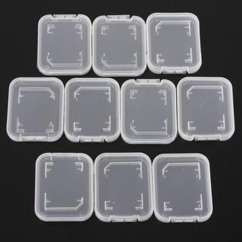 10PCS/Pack Transparent Standard For SD SDHC Memory Card Case Holder Box Storage Boxes New
