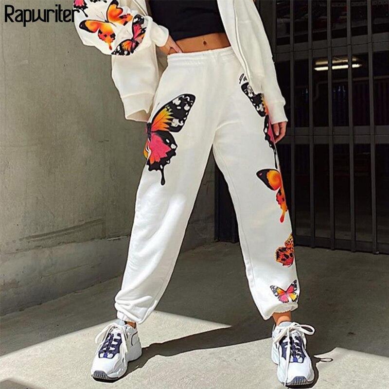 Rapwriter Streetwear Butterfly Print Sweatpants Women Summer 2020 Stretch High Waist Pants Harajuku Joggers Trousers Fashion