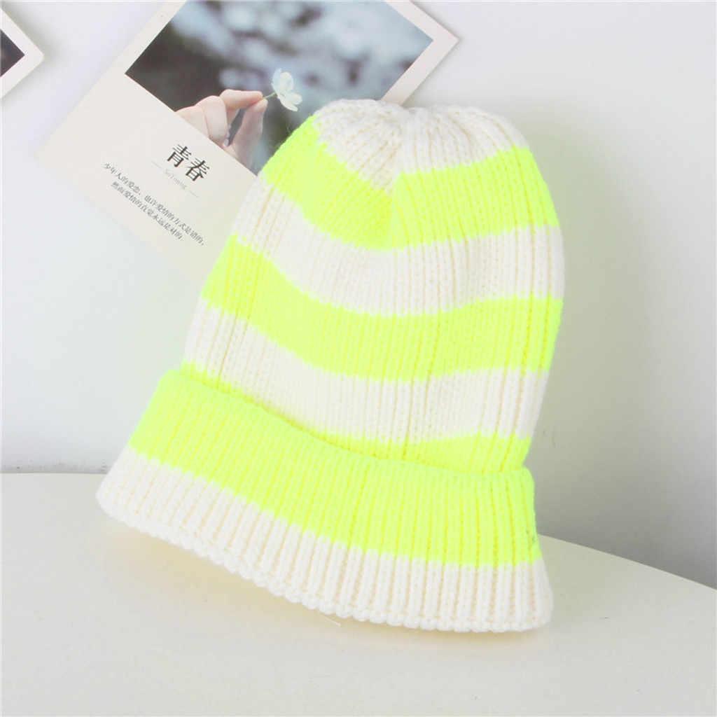 Crianças individuais estilo oceano listra cor fluorescente boné de lã chapéu macio quente malha boné masculino feminino skullcap chapéus gorro novo