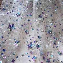 Colorful Stars Floral Sequin Tulle Fabric Nude Mesh Tulle Lace Fabric Soft embroidery mesh fabric For DIY Curtain party dress(China)
