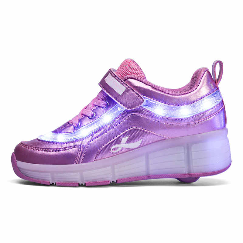 Czarny różowy biały USB ładowania mody dziewczyny chłopcy doprowadziły światła buty rolki dla dzieci Sneakers z kółkami jeden koła