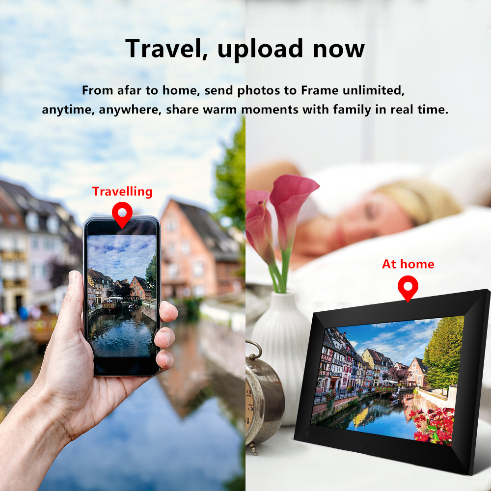 P100 WiFi 10.1 Inch Digital Picture Frame 1280 x 800 IPS Touch Screen 16GB Smart Photo Frame APP Control With Detachable Holder