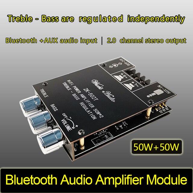 ZK 502T TPA3116D2 بلوتوث 5.0 جهاز تضخيم الصوت مجلس 2.0 قناة عالية الطاقة الصوت مكبر صوت استيريو مجلس 2*50 واط باس أمبير