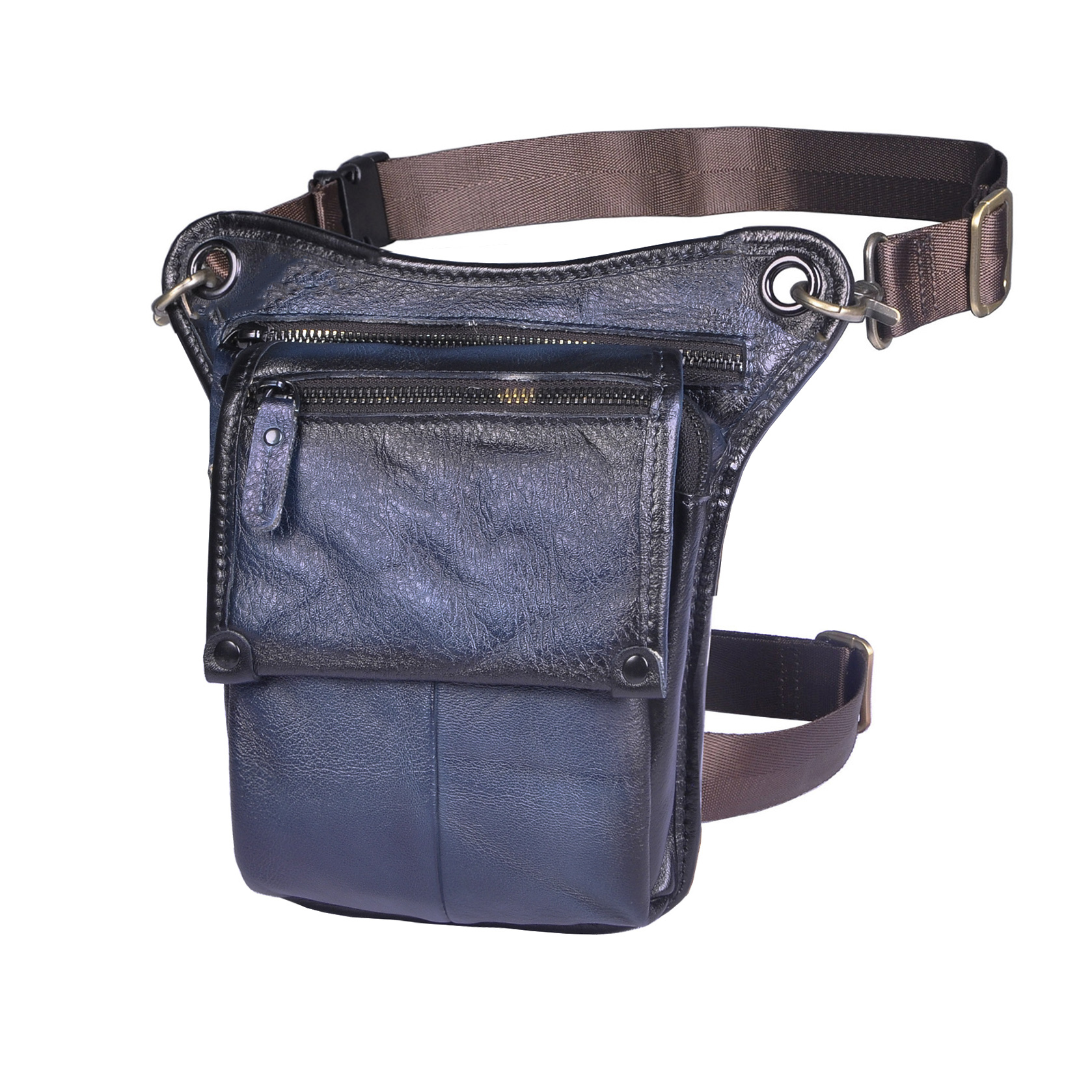 Quality Real Leather Men Multi-function Design Small Messenger Bag Fashion Travel Fanny Belt Waist Pack Drop Leg Bag Male 211-4