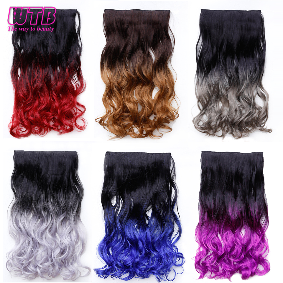 WTB Long Wavy 5 Clip In Hair Extension Heat Resistant Synthetic Natural Black Brown Hair Piece
