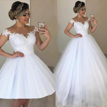 2020 Jewel Neck Lace Wedding Dresses Ball Gown Appliques with Detachable Train Long Bridal Gowns Back Wedding Gown Plus Size sweetheart girl camo wedding dresses with detachable train long bridal gowns camouflage formal real tree custom
