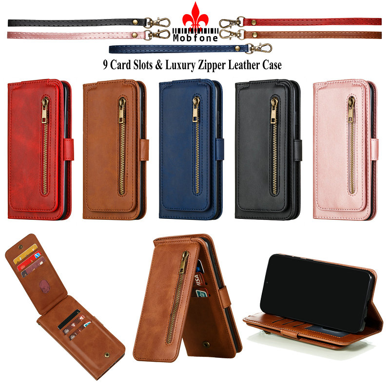 Vintage Zipper Leather Case For Xiaomi Redmi Note 9 Pro Max Note9 Wallet Book Bag Redmi Note 9S 9 cards Slots Flip Fundas Cover