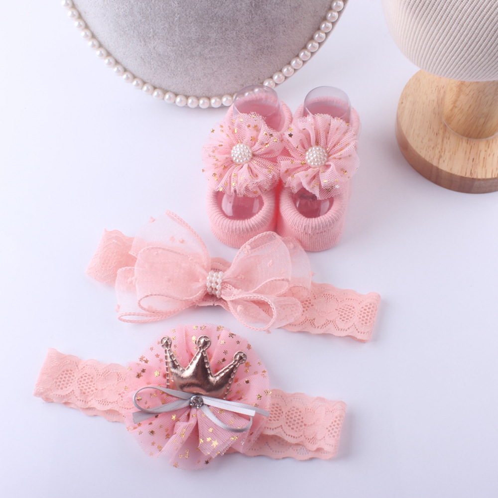 Newborn Baby Bows Headbands Princess Infant Girls Headbands Socks Set Baby Hair Accessories Best Gift For Newborn Baby