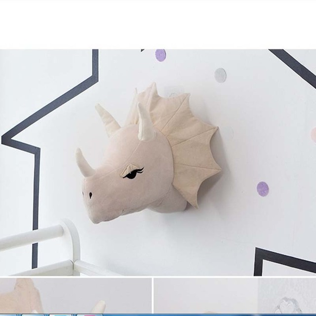 "GUND Chomper Plush Dinosaur Head Stuffed Animal Hanging Wall Décor Green 15"""