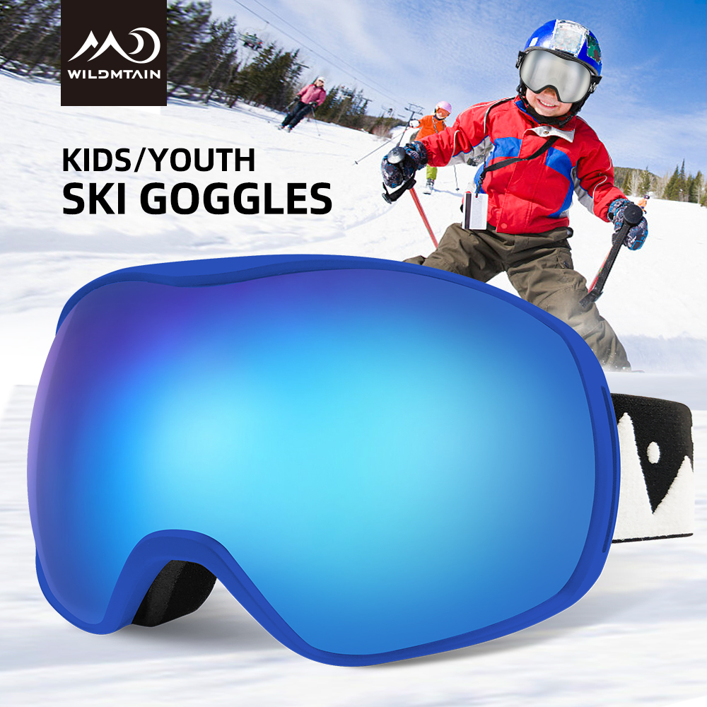 WILDMTAIN Kids Snow Goggles, 5-18 Year Old Boys And Girls Ski Goggles, Anti Fog With Wide Vision, 100% UV Protection Ski Glasses