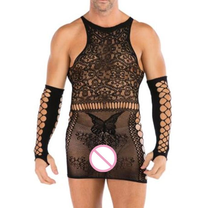 Men Sexy Lingerie Exotic Sleepwear Bodysuit Hot Sexy Costumes Net Nightdress Porno Nightgown Male Underwear + Glove Dropshipping