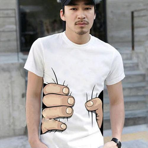 2020 3D Big Hand Bone Print Short Sleeve T-shirt Tee Summer Fashion Top Personal Comfortable Men's Street Fashion Clothing
