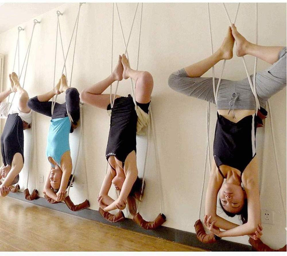 4 PCS Yoga Wall Hanging Rope Iyengar Yoga Belt Antigravity Yoga Sling Inversion Exercises With Expansion Screws Rings