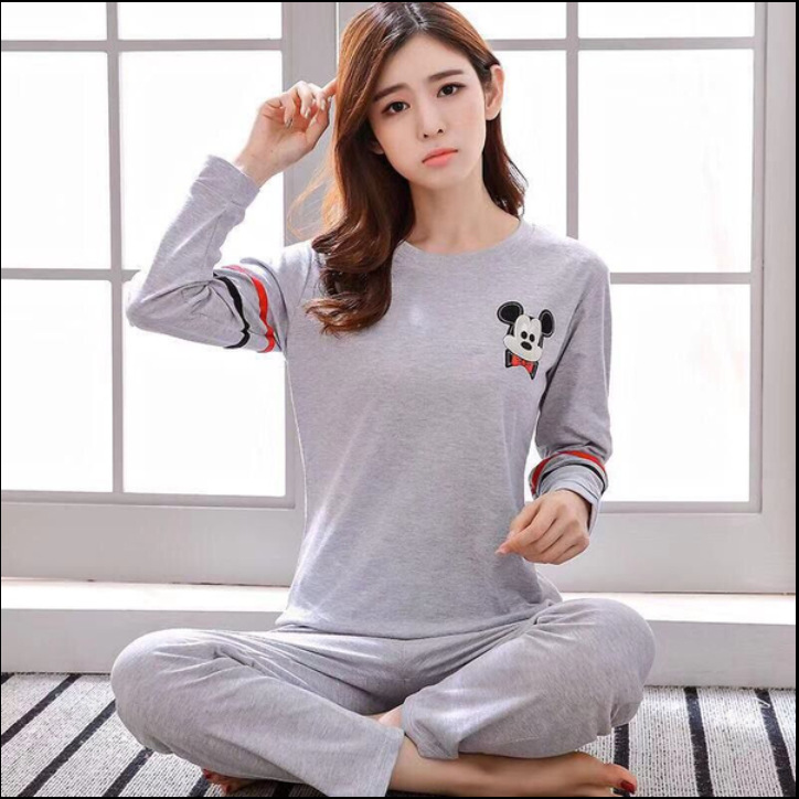 Womens Pajamas Sets Hot Sale 2pcs Women Sleepwear Autumn Long Milk Silk 2019 Girl Cartoon Print Pyjama Set Women Nightshirt Sets