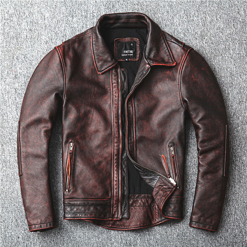 Free Shipping.2020 New Style Genuine Leather Jacket.Vintage Brown Cowhide Coat,Men Fashion Biker Jacket.plus Size Sales