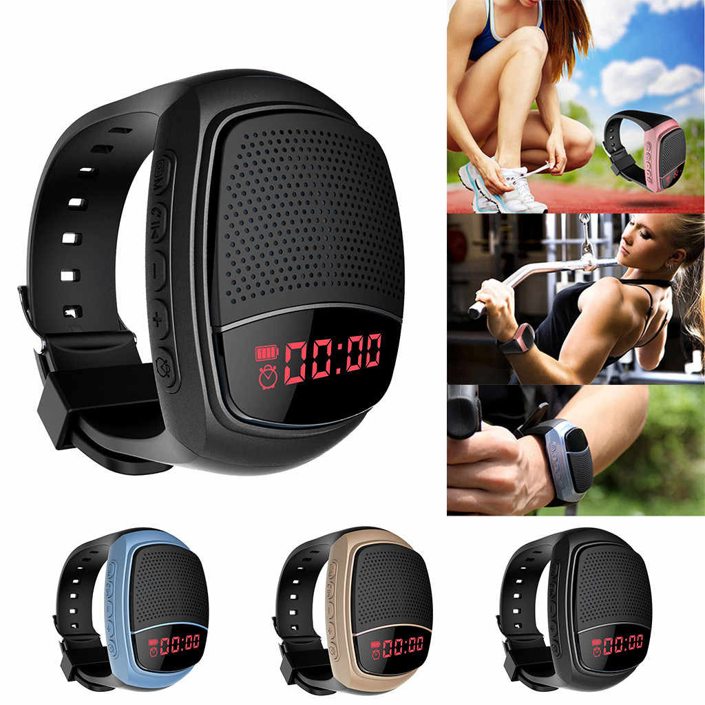 Carprie Speaker Baru Fashion Nirkabel Kebiruan Olahraga Watch AUX Portable Mini Pergelangan Tangan Stereo Sport Speaker