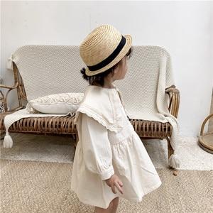 Image 3 - Zoete Prinses Meisje Kant revers Jurk Kinderen Lange mouwen Katoenen Jurk Pure Kleur Meisjes Aline Jurk Knop Retro babys Jurk