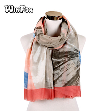 Winfox 2019 Fashion Tie Dye Patchwork Colorful Scarves Head Wraps Cape Muslim Hijab Long Women Scarf Muffler