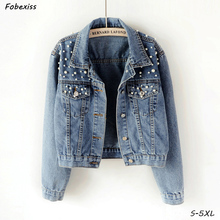 Jeans Jackets Women Autumn 2019 Plus Size 5XL Highstree Gothic Crop Denim Jacket Coat Mini Short Pearl Pocket