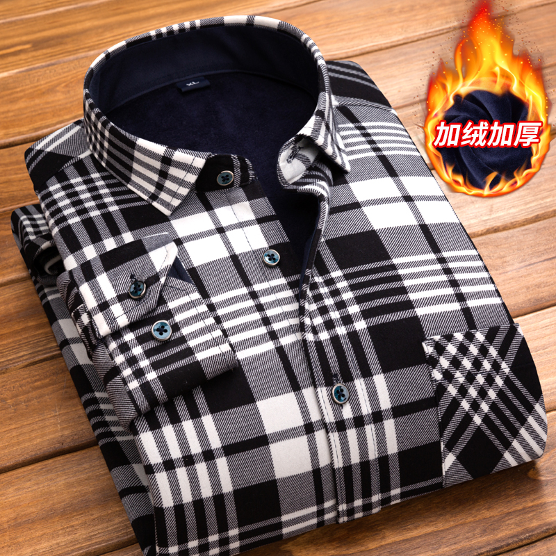 2019 New High Quality Winter Warm Plaid Casual Men Shirt Long Sleeves Shirts Mens Fashion Thick Flannel Shirt Camisa Masculina