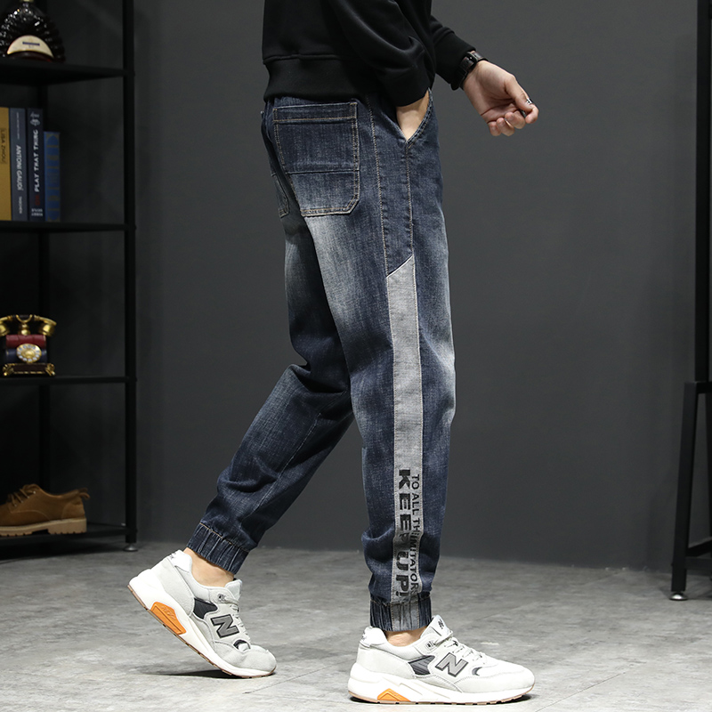 KSTUN Relaxed Tapered Jeans Men Side Patched Letters Design Dark Blue Loose Fit  Elastic Waist Drawstring Casual Pants Plus Size 13