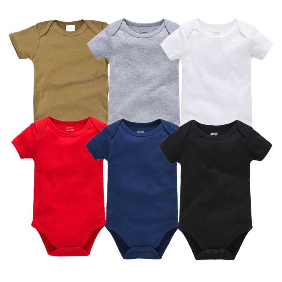 0-24Months kavkas Baby Long Sleeve Onesies Soft Cotton Baby Undershirts 5 Pack Solid Bodysuits