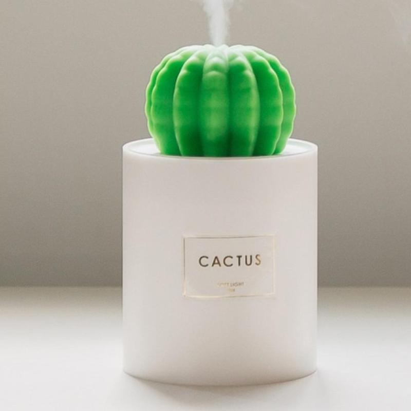 USB Air Humidifier Cactus Timing Aromatherapy Diffuser Mist Maker Fogger Mini Aroma Diffuser With Night Light For Home