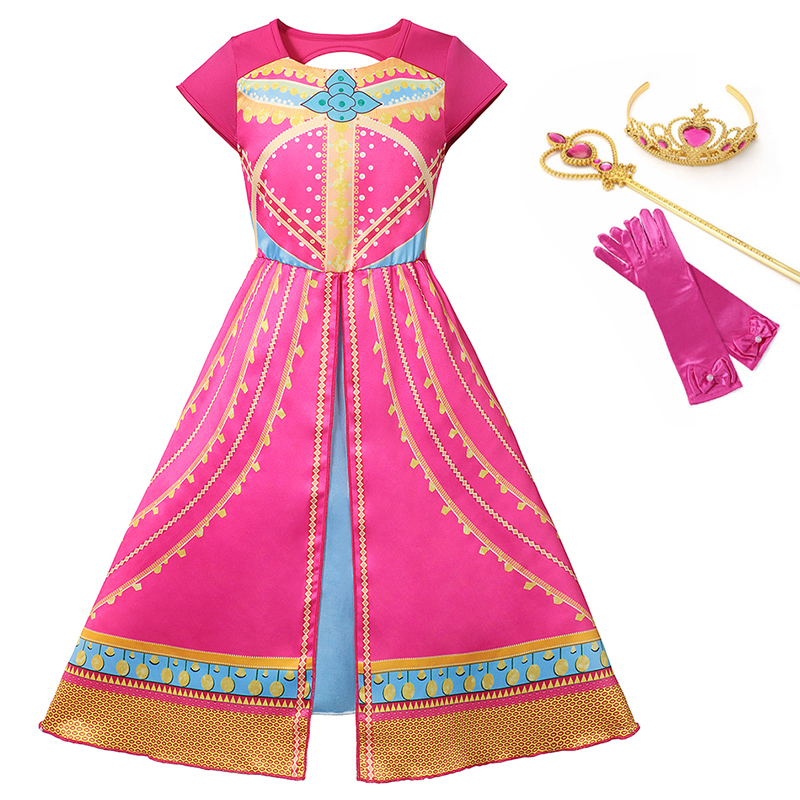 Aladdin Jasmine Dress Costume Girls Pink Princess Dress Kids Cosplay Cartoon Party Printed Clothing Children Arab Fancy Gowns