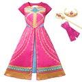 Платье Аладдина жасмин, розовое платье принцессы для девочек, детские вечерние платья с мультяшным принтом, детские модные платья в арабско...