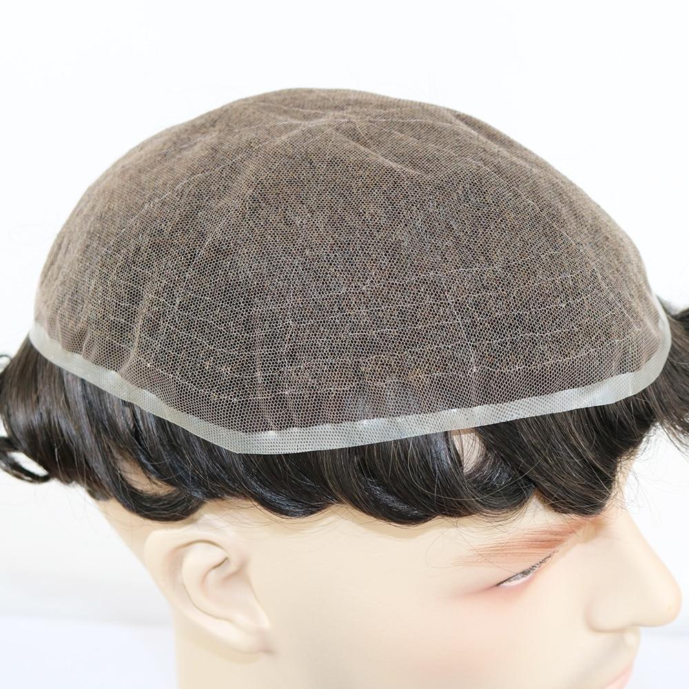 Peluca para hombre nudos blanqueados toda la cabeza de encaje suizo cabello humano para hombre tupé sistemas de reemplazo de cabello Remy de encaje completo para hombre tupé