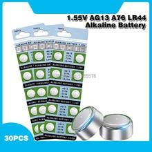 PCS 1.55V AG13 30 LR44 Alcalina de Célula tipo Moeda Bateria AG 13 LR44W LR1154 SR44 A76 357A 303 357 Baterias Botão Para Relógios Brinquedos