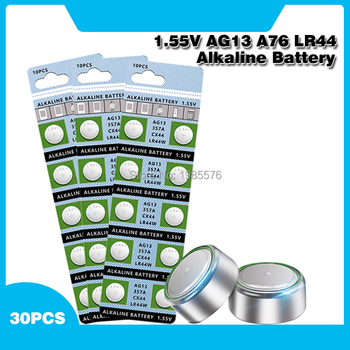 30PCS 1.55V AG13 LR44 Alkaline Cell Coin Battery AG 13 LR44W LR1154 SR44 A76 357A 303 357 Button Batteries For Watches Toys image
