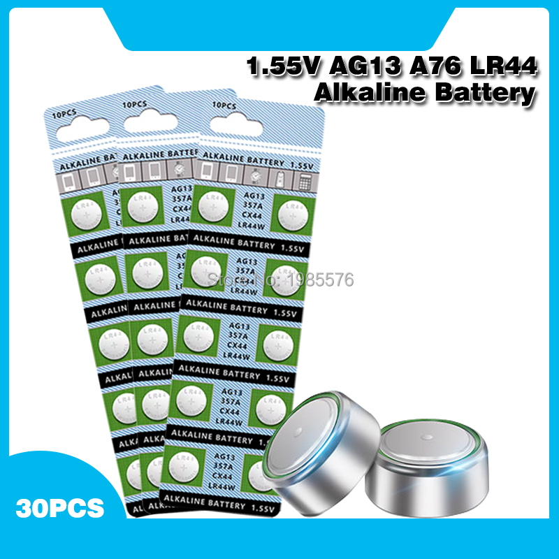 30PCS 1.55V AG13 <font><b>LR44</b></font> Alkaline Cell Coin Battery <font><b>AG</b></font> <font><b>13</b></font> LR44W LR1154 SR44 A76 357A 303 357 Button Batteries For Watches Toys image
