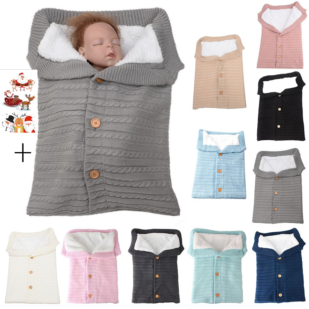 Infant Baby Button Knitted Sleeping Bag Blanket Sleep Sack Stroller Swaddle Wrap