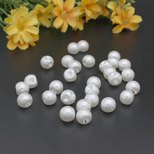 Free Shipping 300pcs 6mm White Round Pearl Buttons side holes Shank plastic for Baby Clothing botoes scrapbook accessory