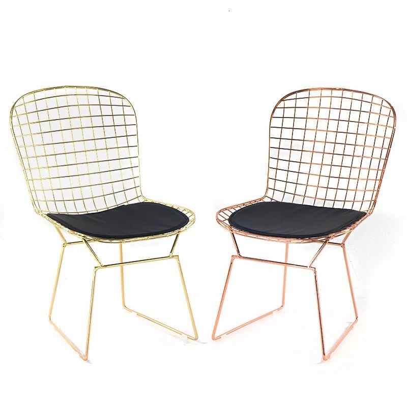 Nordic Hollow Light Luxury Dining Chair Net Red Chair Iron Designer Chair Modern Minimalist Cafe Home Chair