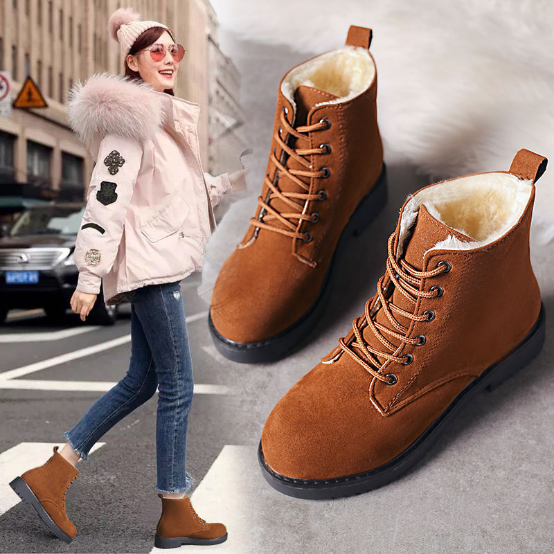 19 thick and velvet warm Martin boots female winter Korean version of the frosted thick cotton shoes snow boots short tube stude