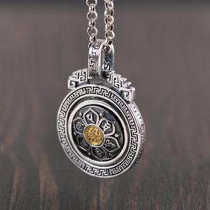 Image 4 - BALMORA 925 Sterling Silver 360 Rapid Rotating Six Words Sutra Pendants & Necklace for Women Men Buddhism Cool Fashion Jewelry
