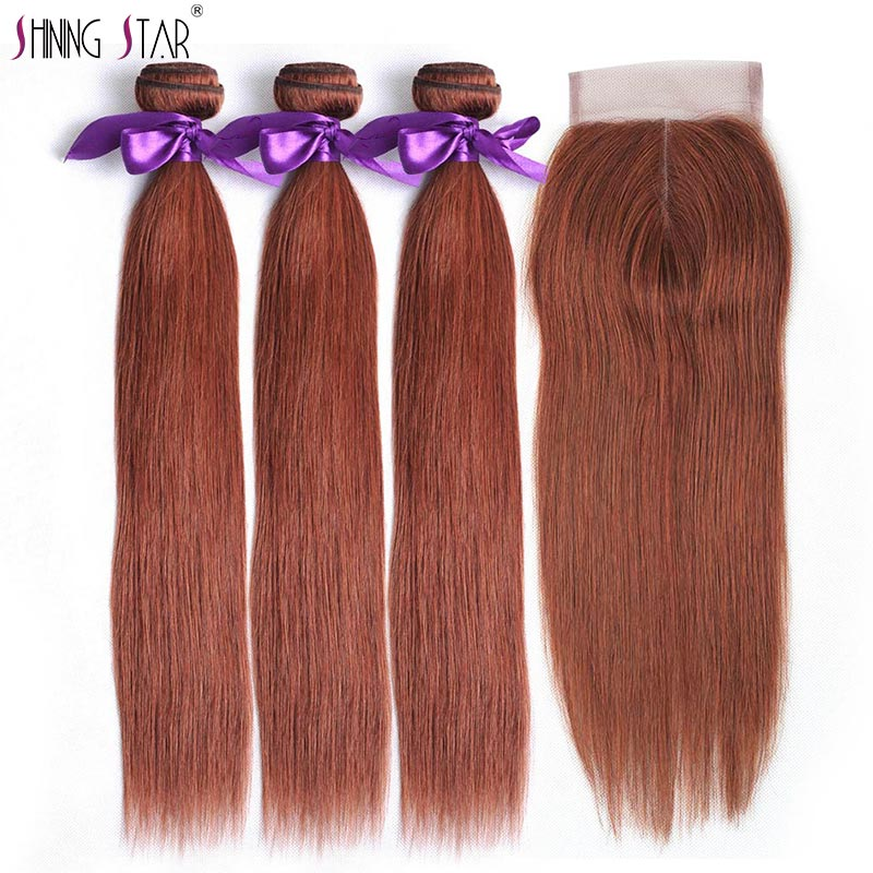 Colored 33 Brazilian Straight Hair 3 Bundles With Closure Brown Human Hair Bundles With Closure Shining Star Remy Hair Weave