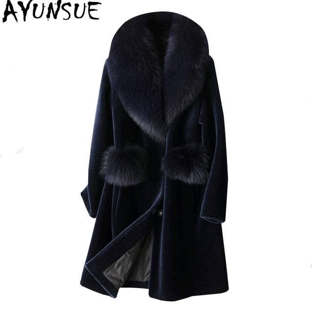 AYUNSUE Real Fur Coat Female Sheep Shearling Winter Jacket Women Fox Fur Collar 100% Wool Coat Long Jackets Plus Size XESD1811