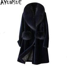 AYUNSUE abrigo de piel auténtica de oveja vaporosa para mujer, chaqueta de invierno con cuello de piel de zorro, abrigo de lana de 100%, chaquetas largas de talla grande XESD1811