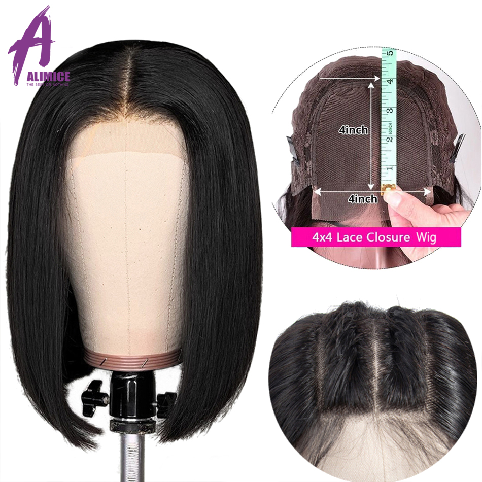 4x4 Lace Closure Wig Indian Straight Pre Plucked Bob Wigs Remy Human Hair Wig Short Bob Wig Bleached Knot For Black Women