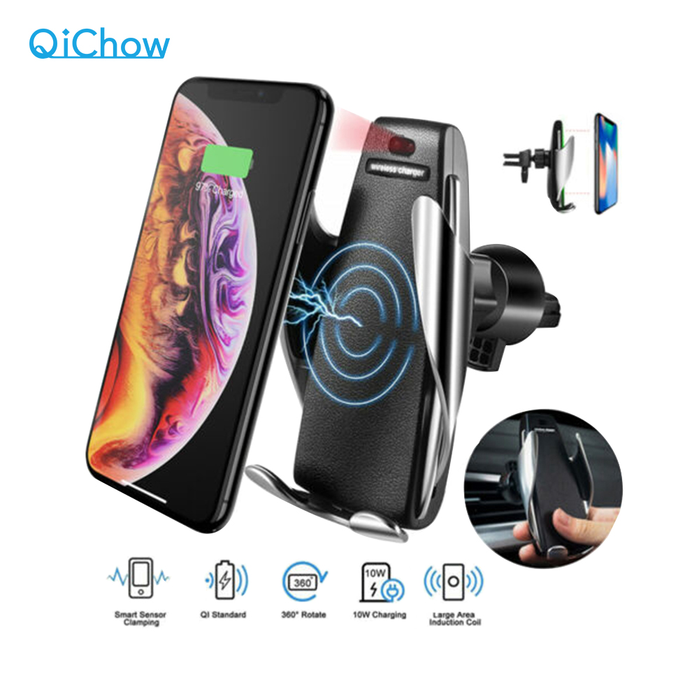 10W Qi Automatic Clamping Fast Charging Phone Holder Mount In Car For IPhone Xr Huawei Samsung Smart Phone Wireless Car Charger