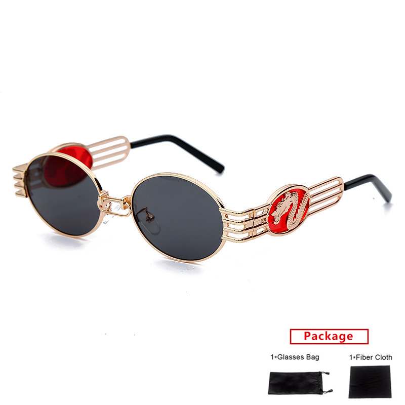 Unique Rimless Punk Sunglasses Women Fashion Dragon Phoenix Glasses tattoo 2020