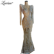 Silver Crystals Beaded Evening Dress 2020 New Custom Beading Mermaid Party Gown Kaftans Dubai African Women Prom Dresses Newest
