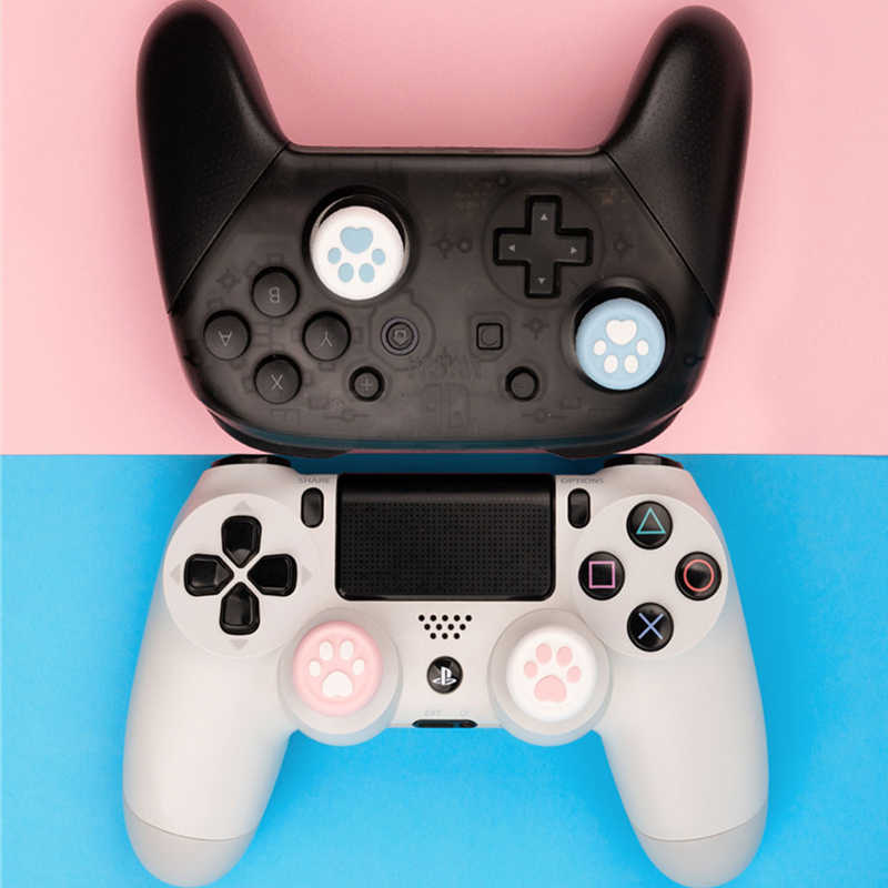Untuk Nintendo Switch Pro Controller Case Cute Kucing Pro Gamepad Joystick Cover Grip Caps Pengganti NS Aksesoris Game